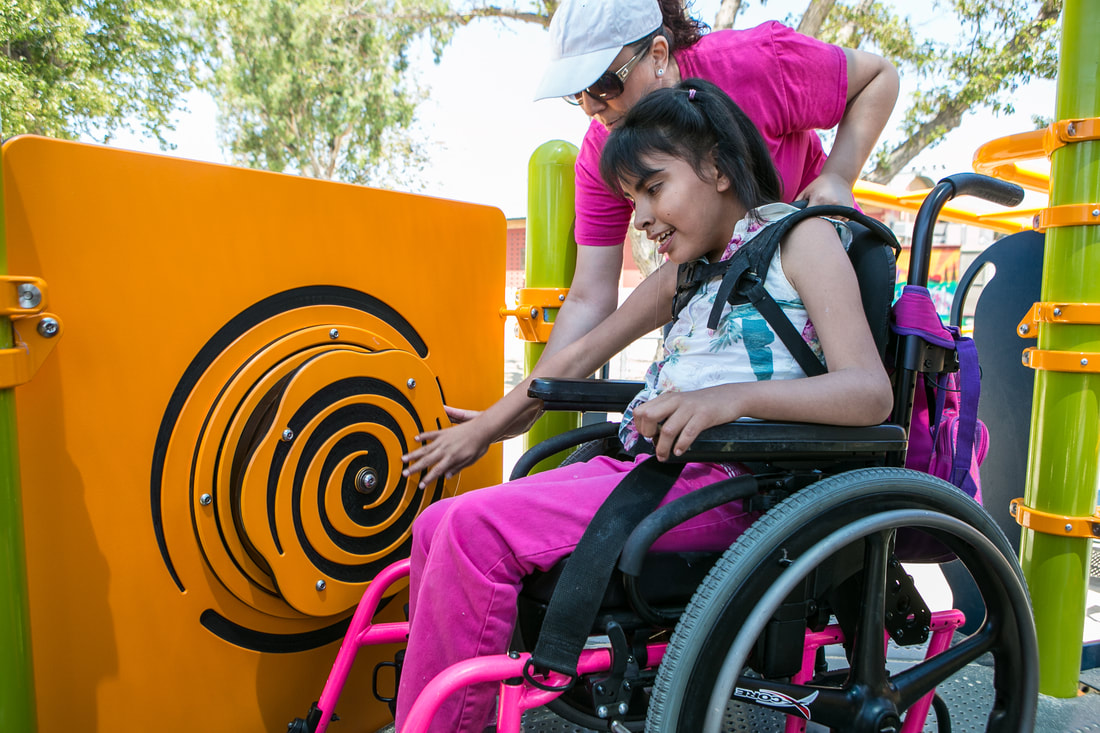 Wheelchair user having tactile experience